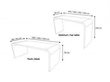 Dimensions Tables Hauteurs 76 cm et 105 cm