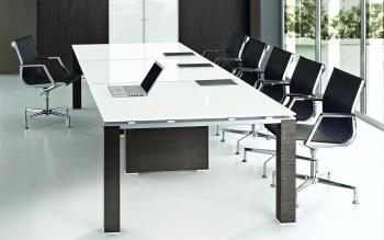 Table de réunion plateau verre JET