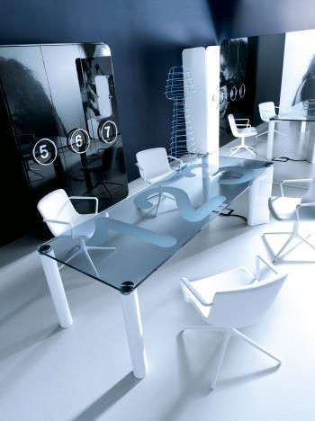 Table de réunion plateau verre transparent IRON
