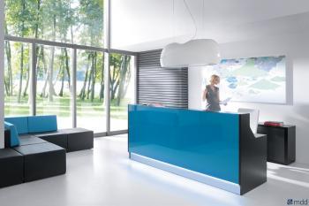 Banque réception bleue verre