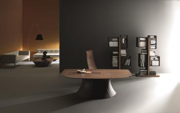 Bureau moderne bois et cuir Ola