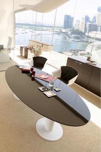 Table elliptique Dedalus  verre marron