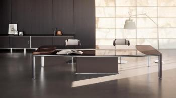 Table plateau enbois et verre brun DARCH