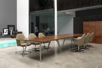 Table de réunion en bois naturel Noyer