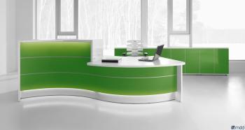 Banque d' accueil  Valde en  vague Finition vert avec PMR