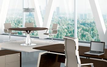 Ensemble table réunion et bureau finition chêne Tabac