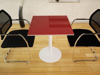 Table de réunion carrée stratifié brillant