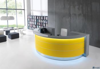Banque d'accueil valde arrondie jaune
