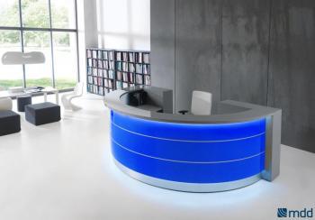 Banque d'accueil arrondie bleue VALDE