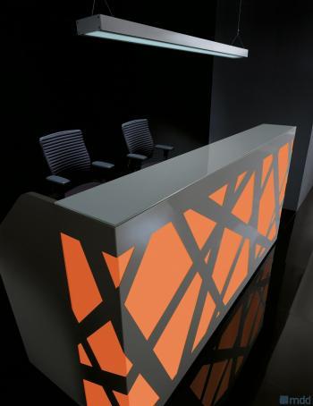Comptoir réception lumineux orange