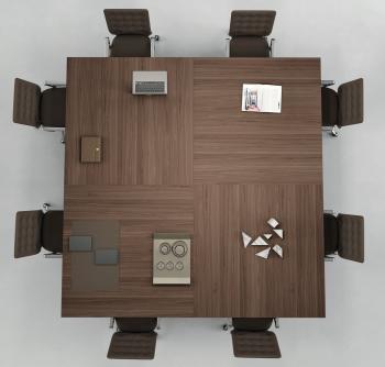 Table de réunion carrée plateau bois naturel