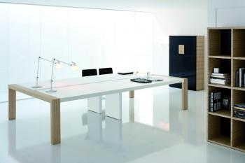 Table plateau cuir blanc