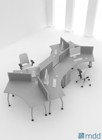 2 bureaux étoile 3 postes avec caissons