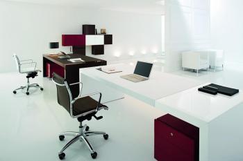 Bureau plateau cuir blanc