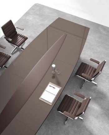 Table de réunion LLOYD plateau bois laqué brillant