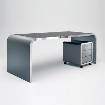 Ensemble bureau et caisson laqué gris