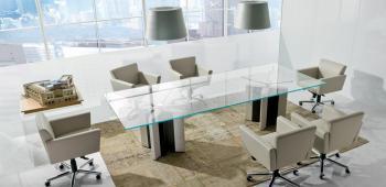 Table de réunion DE SYMETRIA plateau verre transparent