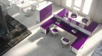 Bureaux bench plateau cloison luxe brillant