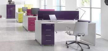 Bureau NEW PANO et cloison couleur