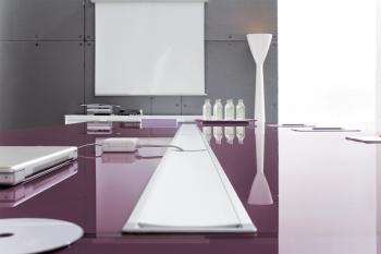 Table HAN plateau verre électrifiée aubergine