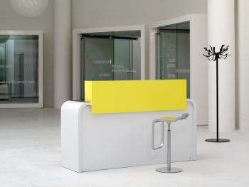 Bureau avec rehausse laqué jaune