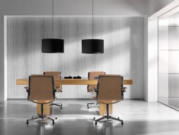 Table de réunion carrée chêne clair