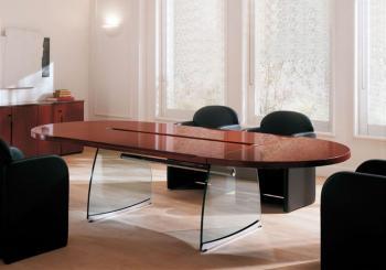 Table de réunion bois et verre Flute