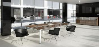 Table de réunion électrifiée stratifié brillant