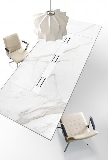 Table de réunion grès cérame blanc Calacatta
