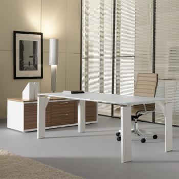 Bureau plateau verre blanc