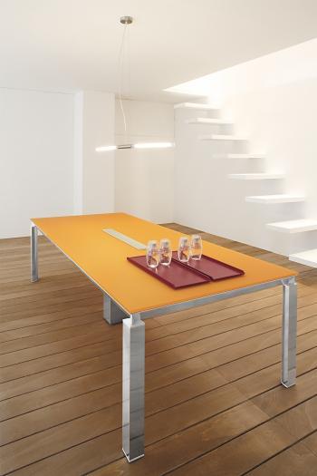 Table HAN verre antisalissure orange