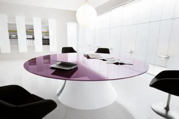 Table Ola ronde verre laqué