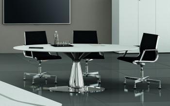 Table ronde gamme Metar avec electrification pied tulipe chromé