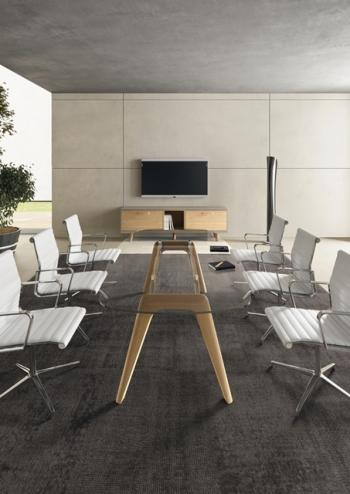 Table de réunion RAIL plateau verre transparent