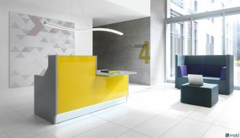 Banque de réception en verre jaune