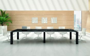 JET EVO table de réunion/CONF2RENCE verre noir
