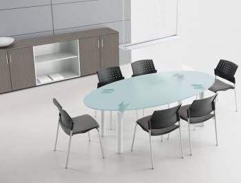 Table ovale ZEUS verre satiné