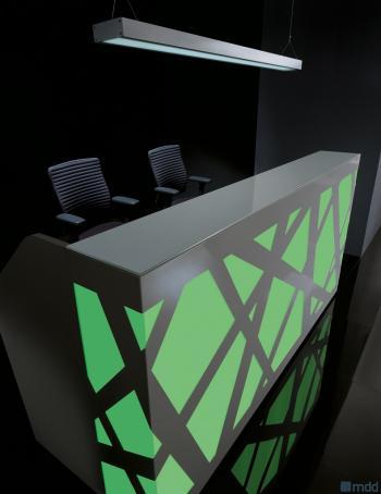 Comptoir accueil ZIG ZAG illuminé vert