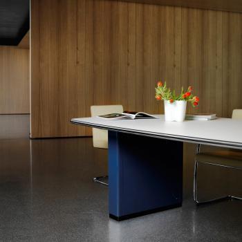 Pied bleu plateau blanc métal  table réunion