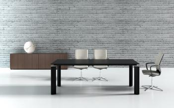 Table de réunion CRYSTAL noire