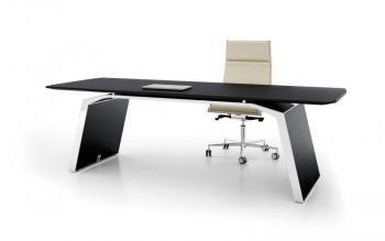 Modéle bureau droit plaquage chêne laqué noir avec finition contour chromé