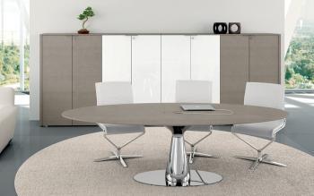 Table de réunion ovale finition chêne gris
