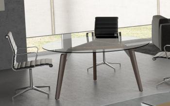 Table de réunion ronde verre RAIL