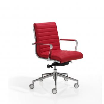 Fauteuil TRINITY cuir rouge dile
