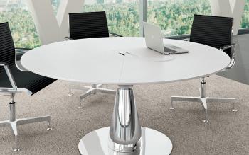 Table de réuion ronde  diam 160 avec électrification finition blanc