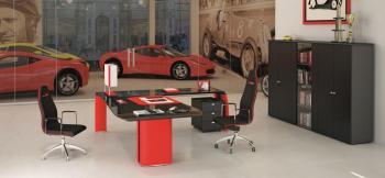 Meuble de bureau rouge & noir