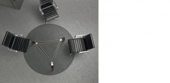 Table RAIL plateau verre triangulaire