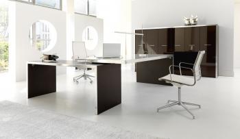 bureau verre avec retour