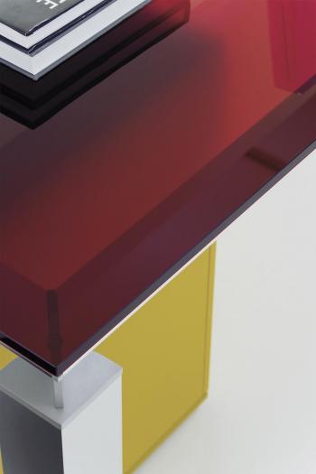 Détail plateau verre table HAN