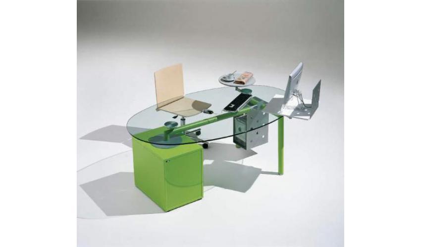 Bureau en verre forme haricot bureau avec porte et tiroirs
